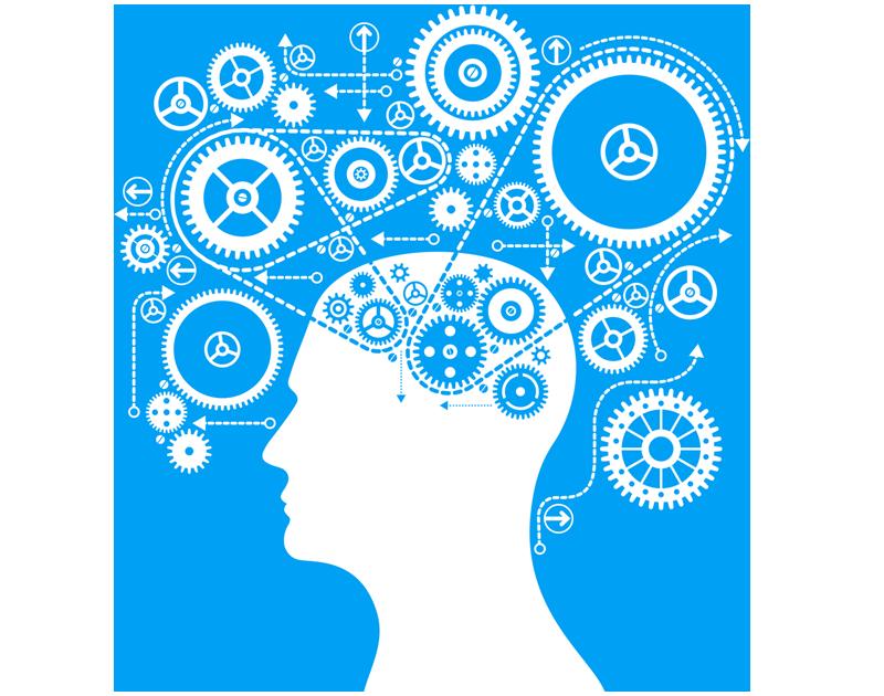 Computer Brain Icon Brain Gears Icon